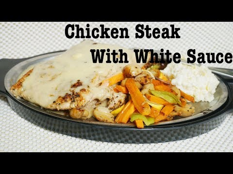 Chicken Steak  With White Sauce Recipe By Cook With Fariha