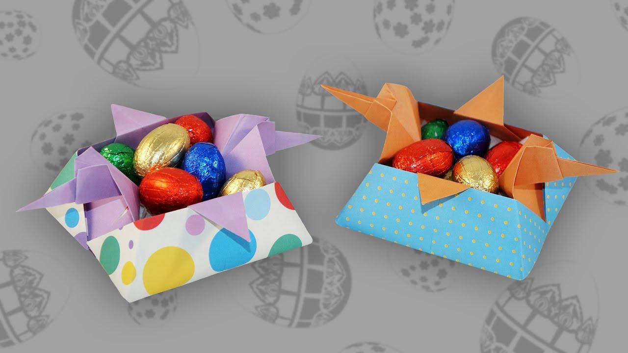 origami osterhenne korb chicken basket faltanleitung. Black Bedroom Furniture Sets. Home Design Ideas