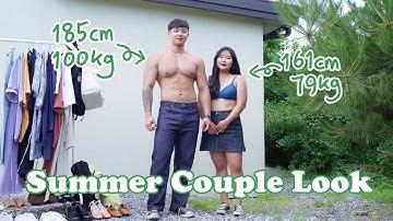 [빅사이즈 커플룩] 한국 최초 79 💚 100kg 여름 커플룩👫🏻  #통통코디 #커플룩 #데일리룩
