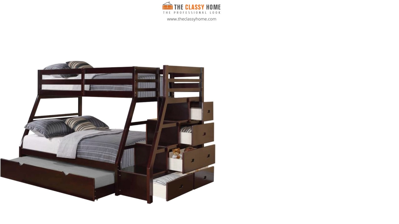 Acme Jason Bunk Bed With Stairs And Storage Youtube