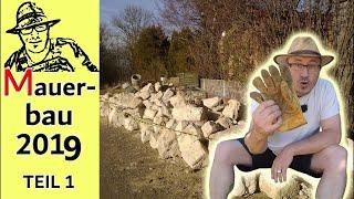 Gartenmauer Teil 1: Mauersteine aussuchen, mit dem Traktor Bäume entwurzeln