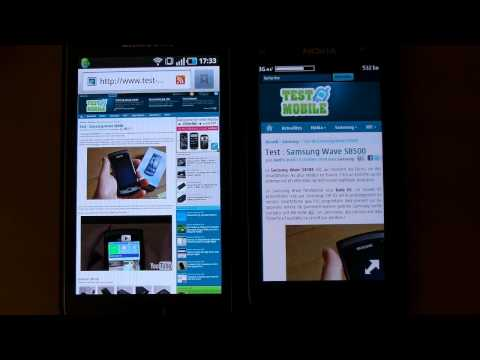 Nokia N8 web browser review and comparison with the Samsung Galaxy S