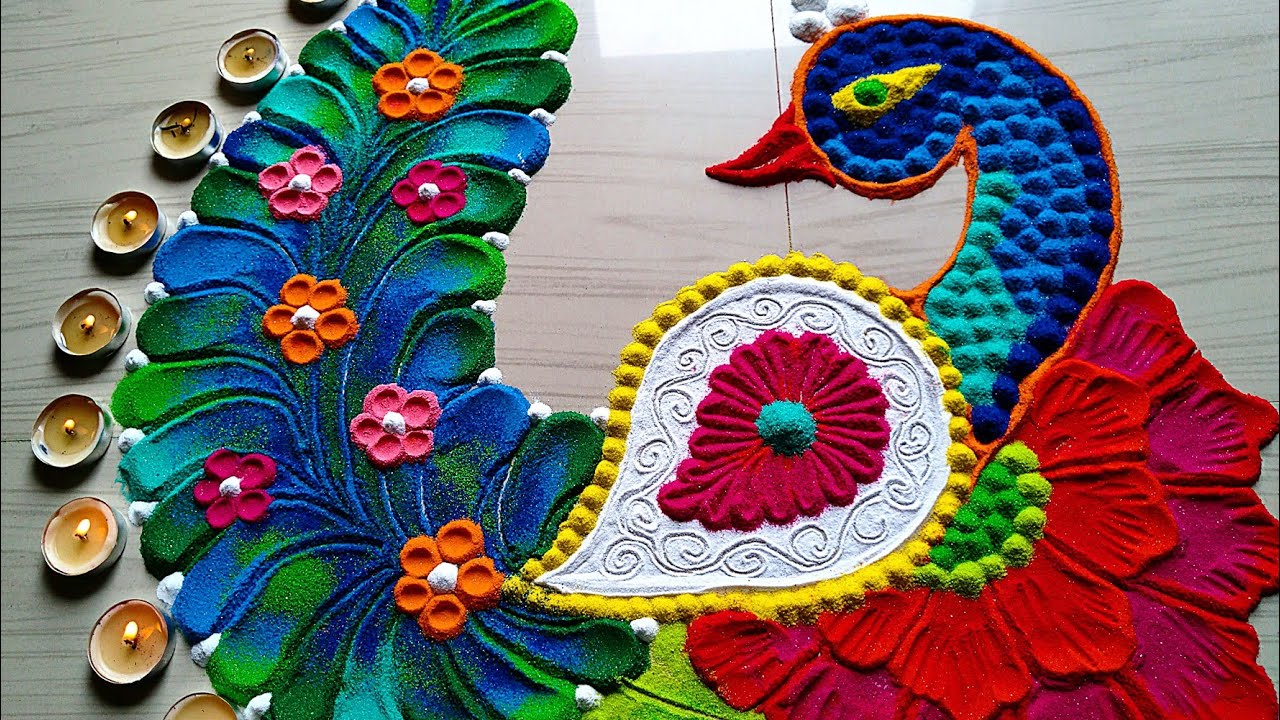 Peacock Rangoli Using Kitchen Utensils For Diwali And
