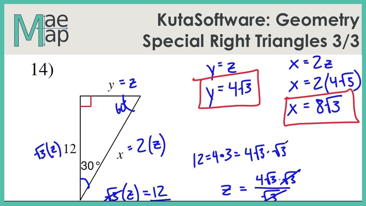Kutasoftware Geometry Special Right Triangles Part 2 Youtube [ 720 x 1280 Pixel ]