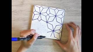 Time lapse of tile drawing inspired by Japanese patterns