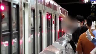 【乗降合図動画】千里中央駅 大阪モノレール アルバイトの駅員さんが二人で立ち番 警備員さんの立哨あり