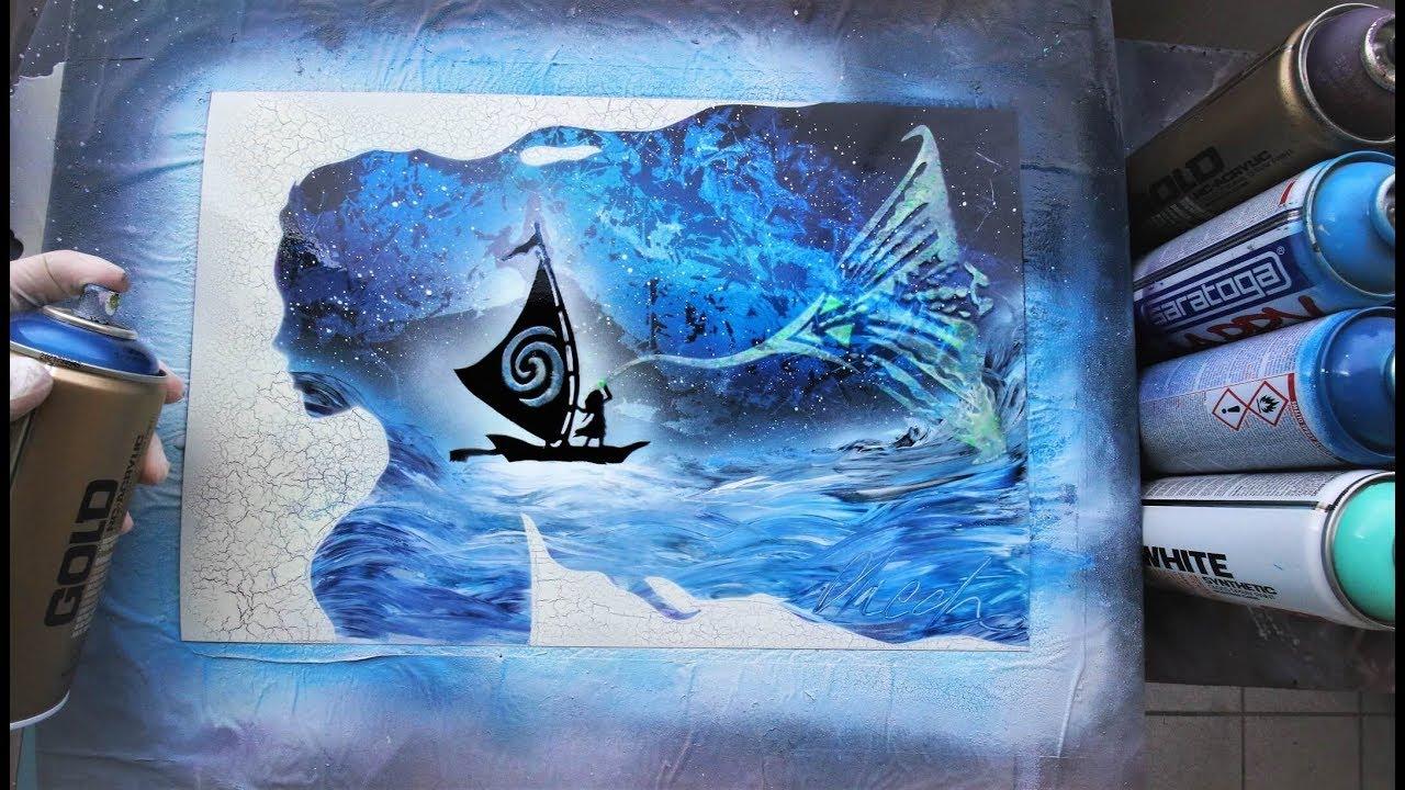 Moana GLOW IN DARK - SPRAY PAINT ART - by Skech - YouTube