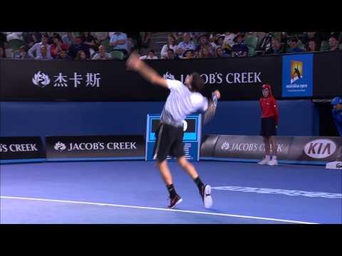 Grigor Dimitrov massive racquet smash  Australian Open 2015