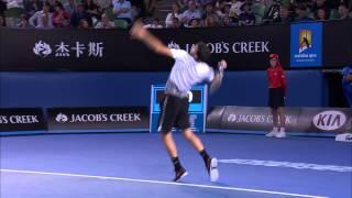 Grigor Dimitrov massive racquet smash - Australian Open 2015