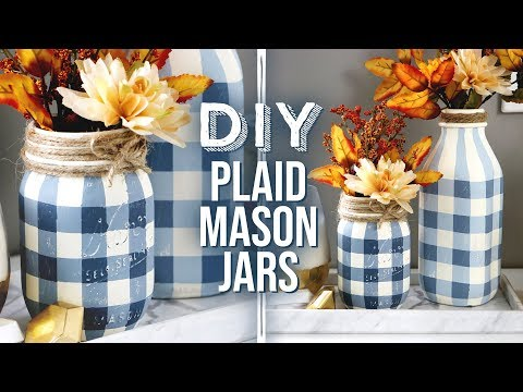 DIY Buffalo Plaid Mason Jars | Rustic & Farmhouse Vibes for Autum - HGTV Handmade