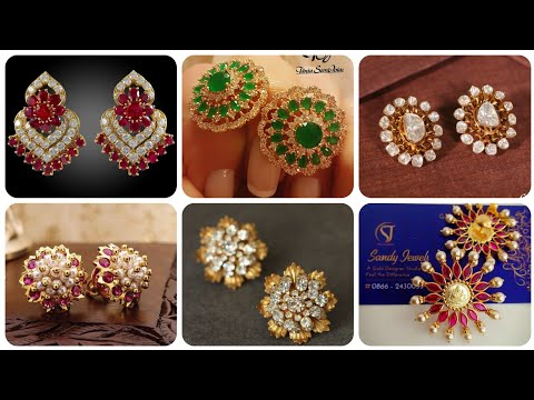 Most Popular And Beautiful Gold Stud And Gold Earrings Designs With Ruby Emerald