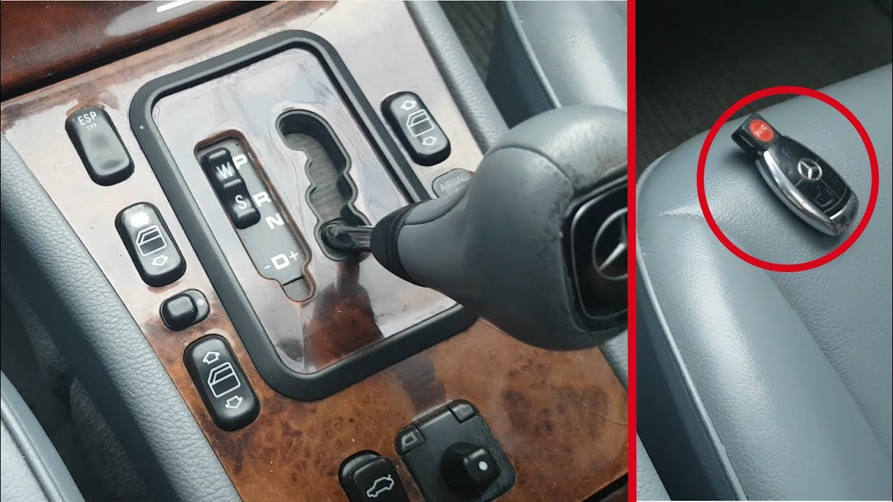 Mercedes W210 How to remove the automatic transmission with parking without battery or without a key