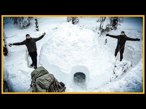 Übernachtung im Iglu? - Winter Bushcraft Biwak Übernachtung mit Fritz Meinecke