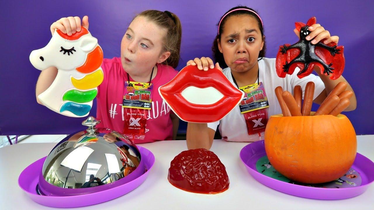 Real Food Vs Gummy Food Challenge Halloween Special