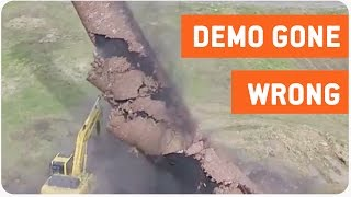 Smokestack Demolition Falls On Tractor | Extremely Close Call