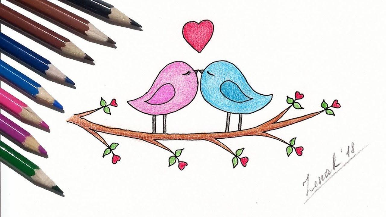 How to draw love birds easy