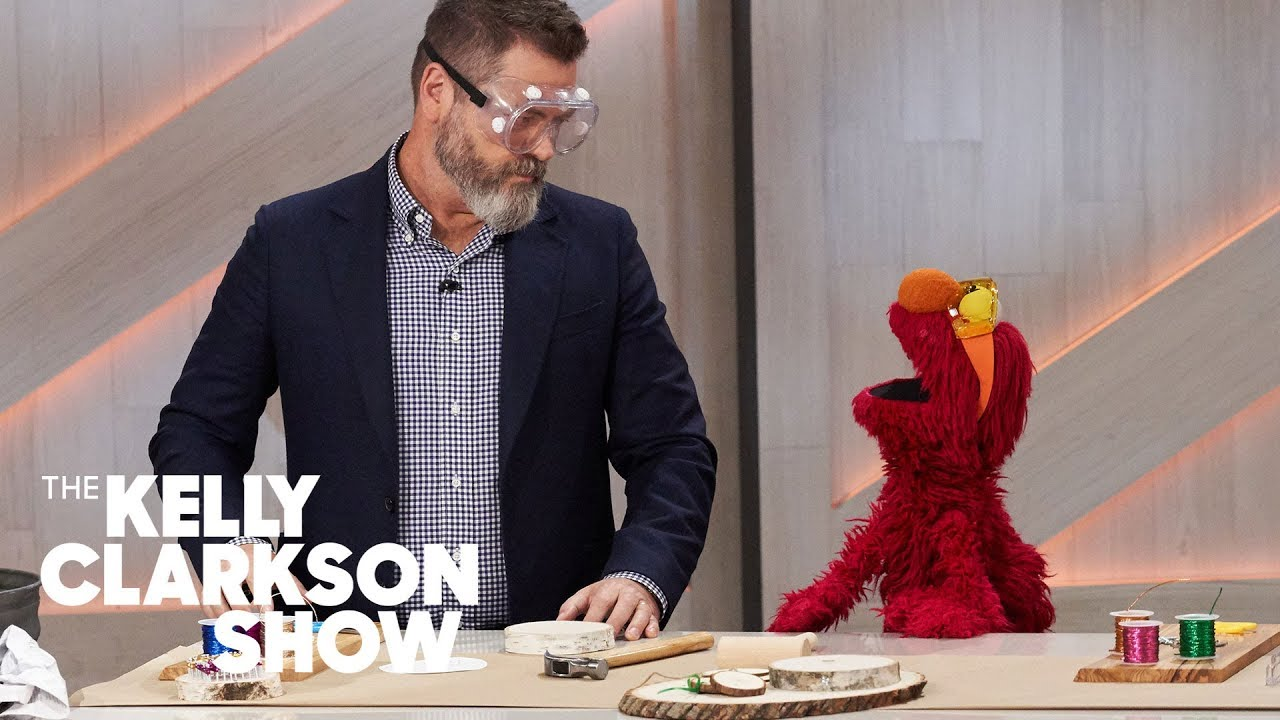 Watch Nick Offerman Teach Big Bird, Elmo, Cookie Monster And Oscar The Grouch How To Make Ornaments