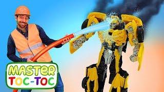 Vidéo en français pour enfants. Master Toc-Toc № 31. Transformers: réparation d'un camion pompier