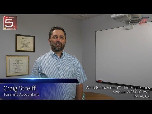 Elite ProAV® WhiteBoardScreen™ Thin Edge Series Testimonial in Irvine, CA