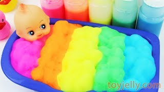 Learn Colors Baby Doll Body Paint Bubble Color Foam Bath Time Suprise Eggs Baby Finger Song for Kids