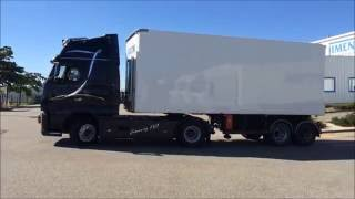 Démonstration Attelage Camion Bi Train (B Double / Interlink / Trailer ) - Transports Jimenez FVA