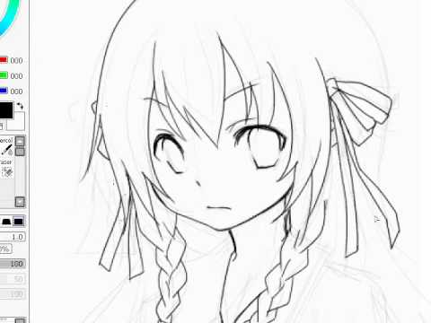 lineart anime drawing (SAI paint tool-Kaneko Eiza) - YouTube