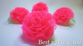 Organza flowers / 2 ways / master class / elastic bands with flowers.