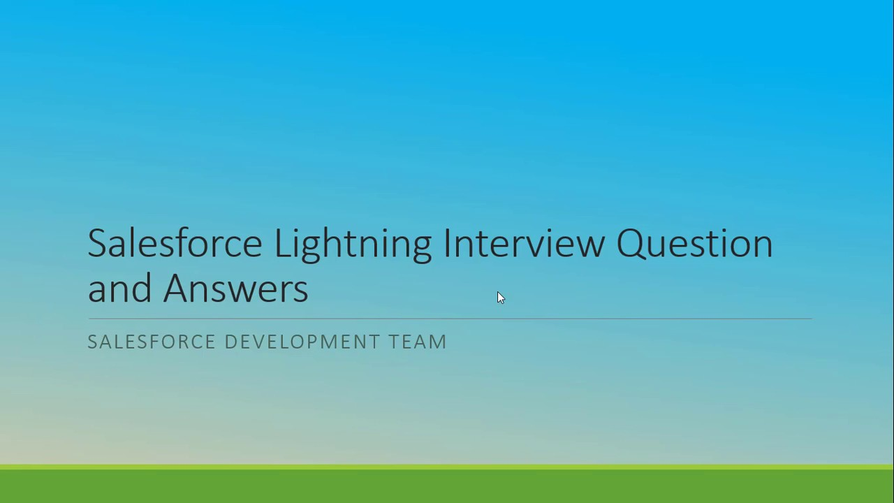 Salesforce lightning interview question and answers - YouTube