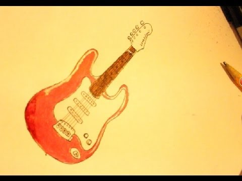 How To Draw A Les Paul Electric Guitar Youtube