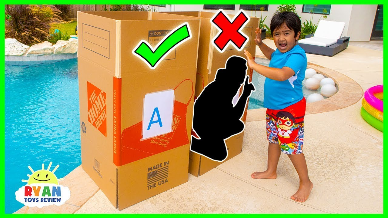 Dont Push the Wrong Mystery Box into the Pool Challenge!!!