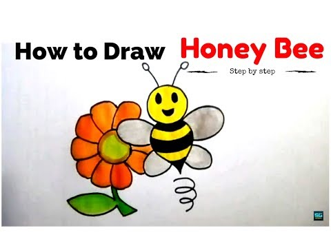 how to draw cartoon honey bee with flower cartoon honey bee drawing tutorial how to draw animal