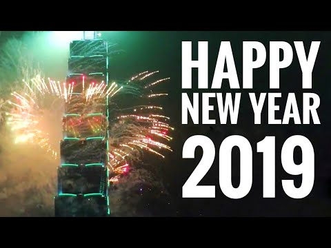 Happy New Year 2019 World's Best Fireworks Taipei Taiwan 101 Tower