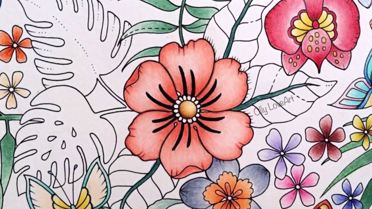 how i color flowers in the magical jungle coloring book selva magica youtube