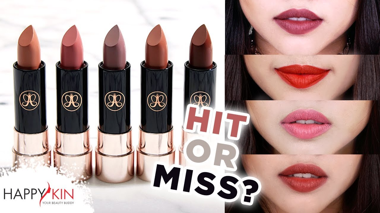 Swatch Review Son Anastasia Beverly Hills Matte Lipstick Hit Or Miss 8 Happy Skin Youtube