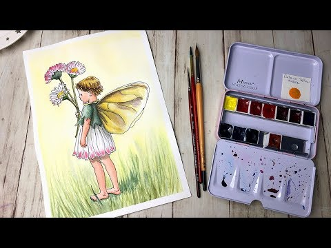 Using my Own Handmade Watercolors for my 4th Flower Fairy Study The Daisy Fairy