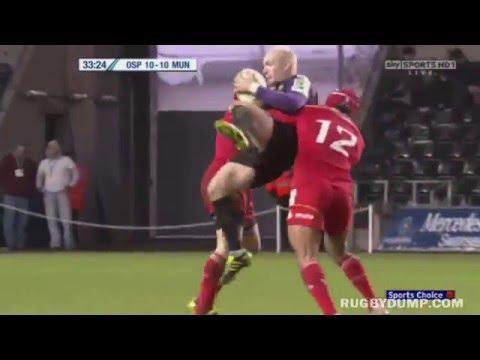 Sam Tuitupou and Keith Earls big dump tackle on Richard Fussell (2011)
