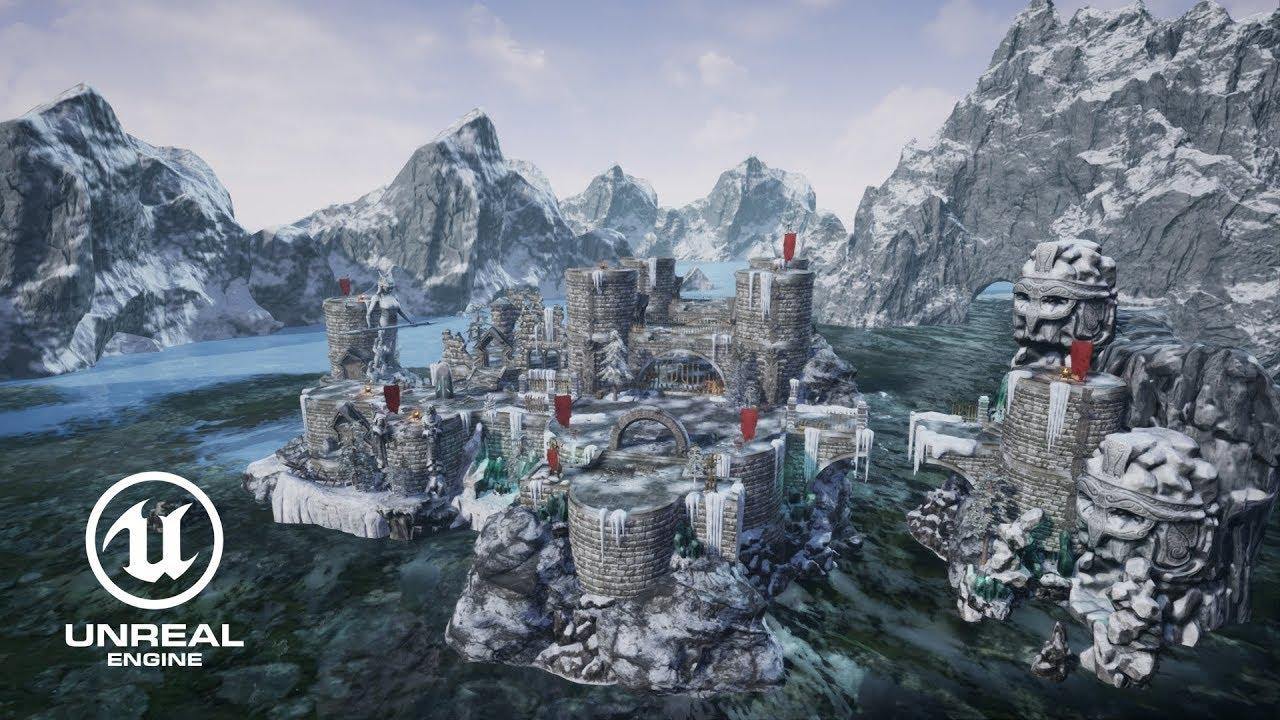 [Unreal Engine] Level art - «Frozen Castle» 001