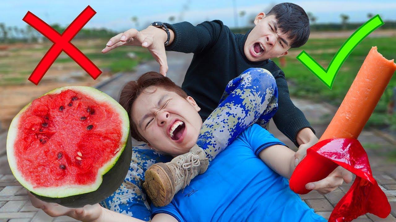 BATTLE NERF WAR : FATMAN Fight Protect Watermelon Nerf Guns Big Watermelon Mission BATTLE NERF