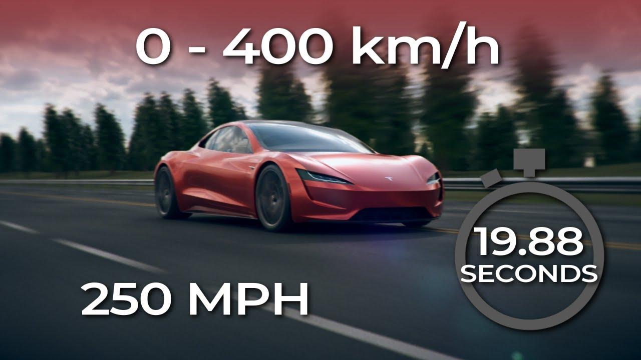 TESLA ROADSTER - Acceleration 0-400 km/h (250 MPH)
