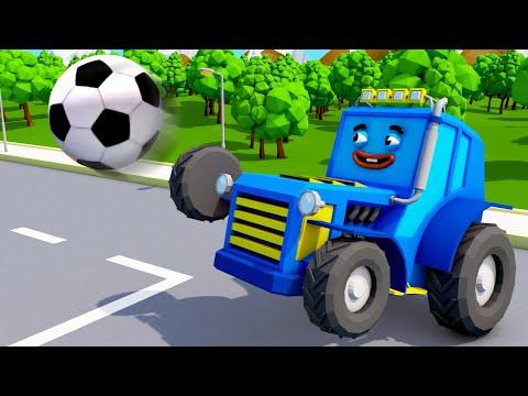 Мультфильм машинки играют в мяч