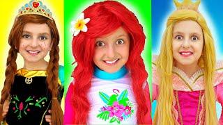 Disney Princesses Costumes & Kids Makeup, Pretend Play with Real Princess Dresses from Super Elsa