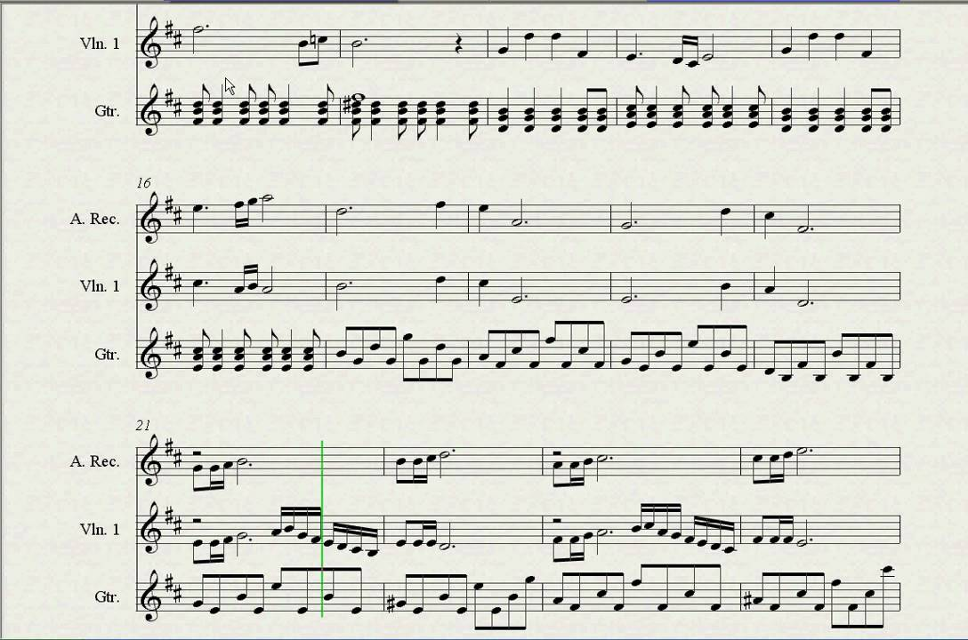 Sheet Music Zelda Tp Hyrule Field Recorder Violin And Guitar Youtube
