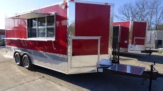 Concession Trailer 8.5' x 16' Red Catering Event Food Trailer
