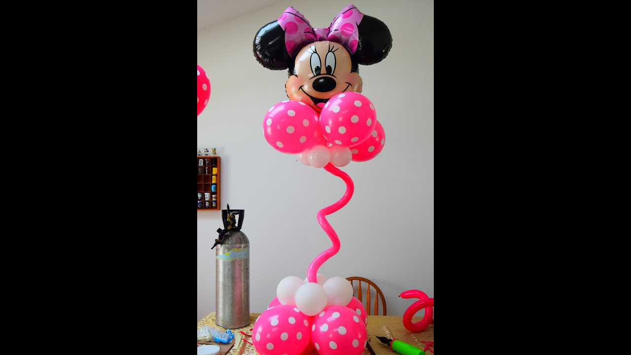 DIY Simple Easy Minnie Balloon Centerpiece Column for Birthday