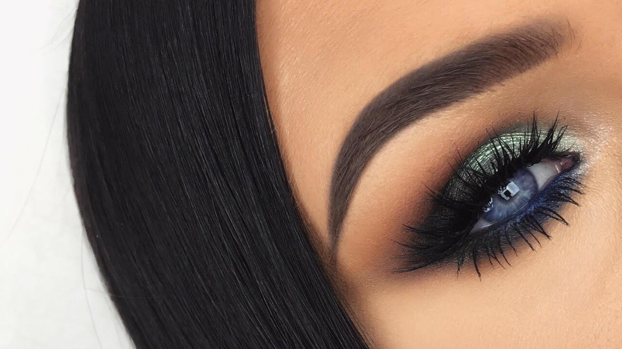bold blue & green smokey eyes   makeup tutorial