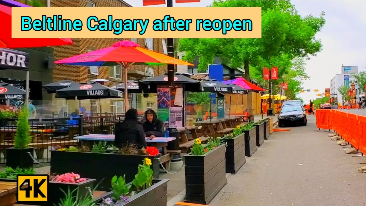 Beltline Calgary on rainy Sunday after reopen stage one in June #Calgary #beltline #Downtowncalgary