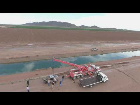 Ford Mustang submerged in the Arizona Project canal system