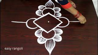 how to draw daily routine muggulu rangoli designs * simple & easy kolam with 3 dots