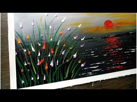 Simple Acrylic Painting | Landscape Step by Step | Abstract  | Satisfying Demo #31