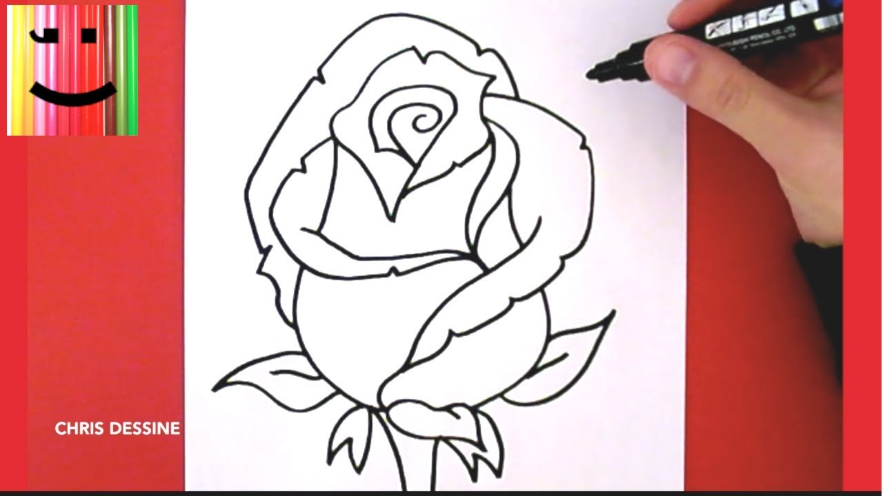 Célèbre DESSIN FACILE - COMMENT DESSINER UNE ROSE - CHRIS DESSINE - YouTube JS82